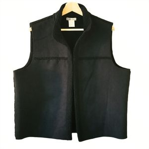 Faded Glory Black Suede Vest Ladies XL Like New